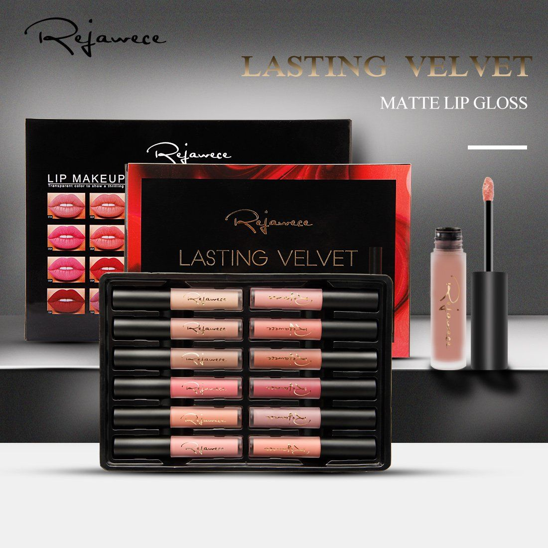7a182271d2af Lip Gloss Set Waterproof Long Lasting Matte Lip Gloss Liquid ...