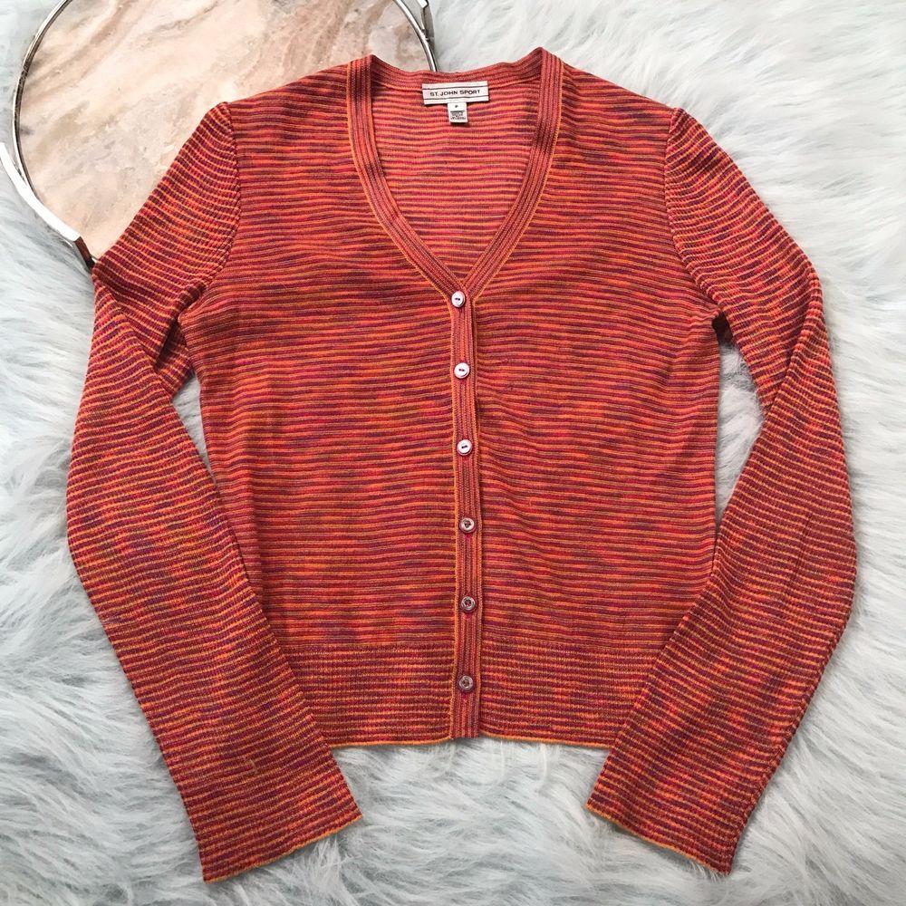 St John Sport Womens Small P Orange Red Striped Cardigan Sweater ...