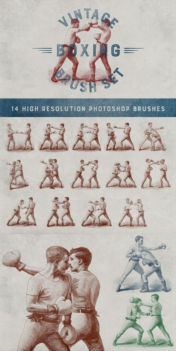 Vintage Boxing Brush Set. Photoshop Brushes. $8.00