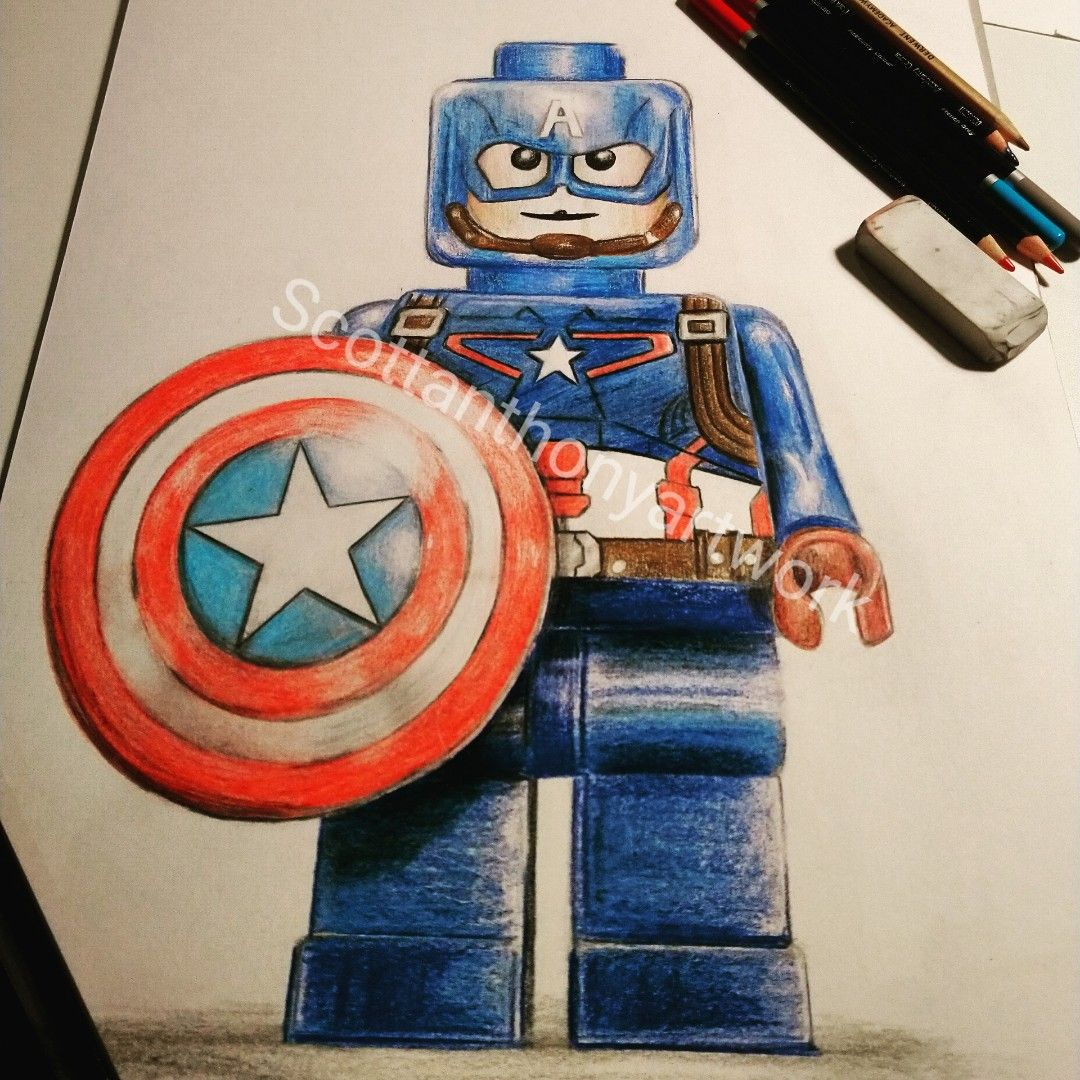 Lego Captain America Drawing In Colour Pencils Captain America Drawing Drawings Lego Art