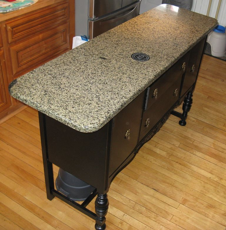 kitchen island made from old buffet and a piece of granite - Granite Kitchen Island Table