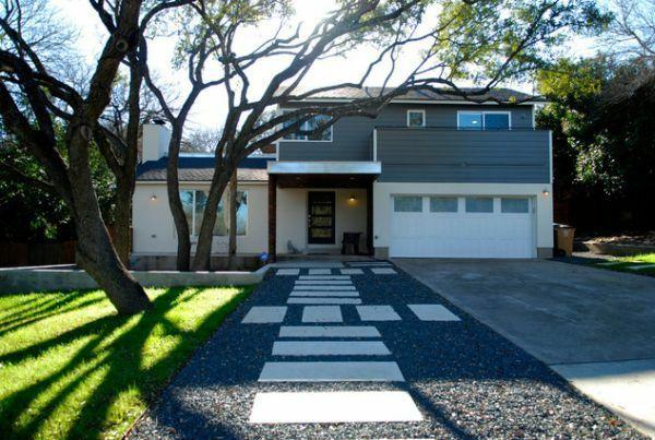 Wie kann man seine Vorgartengestaltung modern kreieren - exterior designideen moderne vorgartengestaltung kieselsteine betonplatten