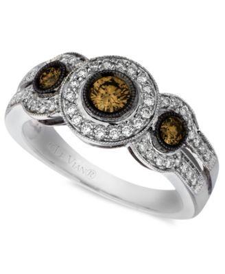 Le Vian Diamond Chocolate Diamond White Diamond Three Stone (3/4 ct. t.w.) in 14k White Gold | macys.com