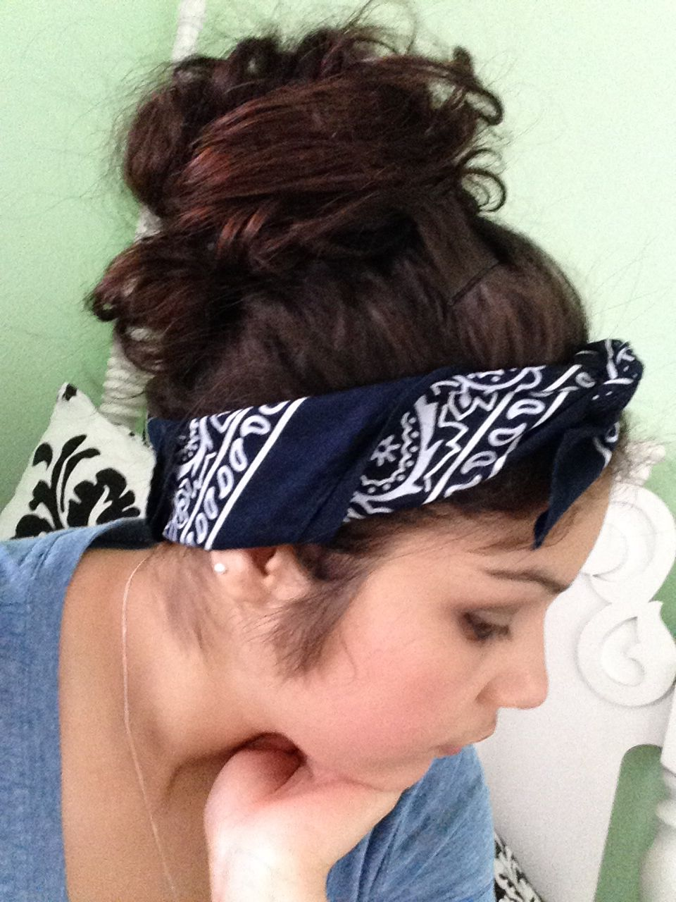 Messy bun with bandana hair inspiration pinterest hair messy