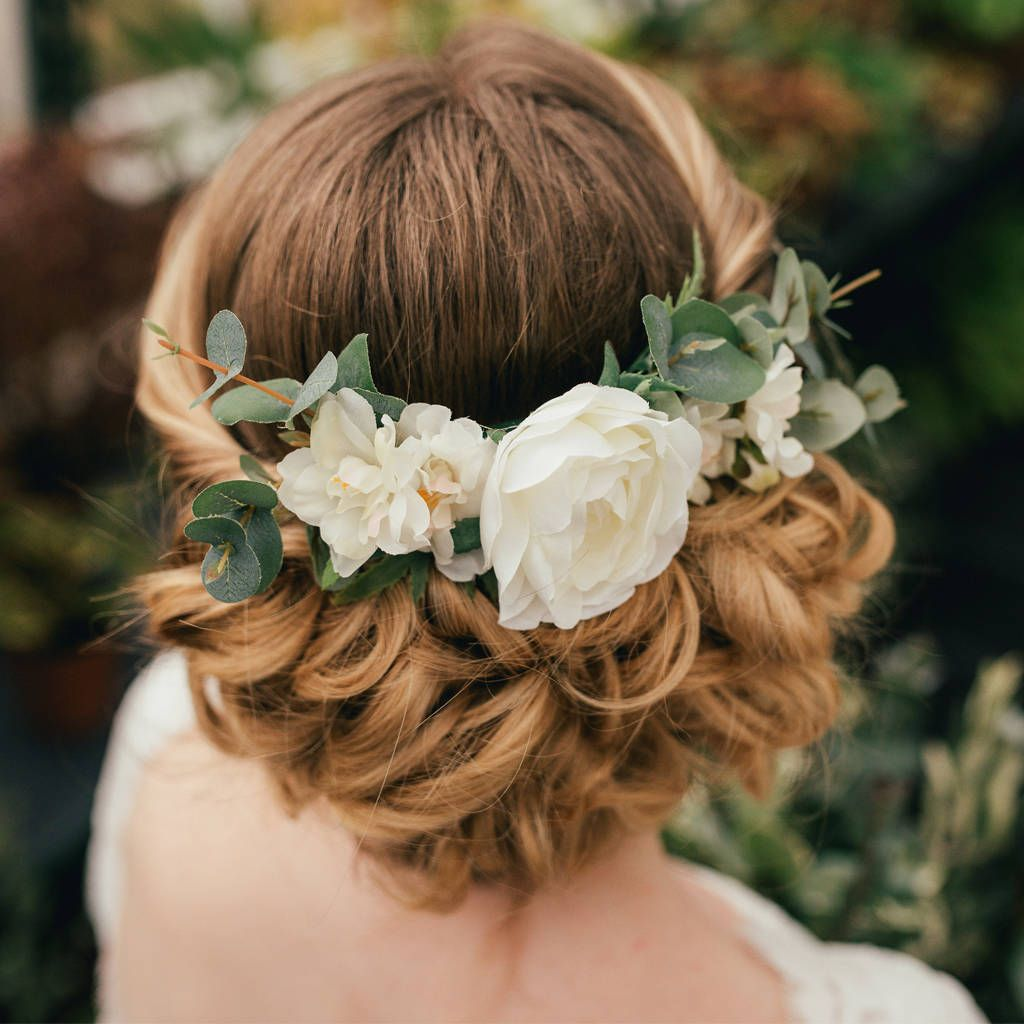 Floral Wedding Hair Comb By Britten: Verity Eucalyptus Wedding Bridal Hair Comb Accessory
