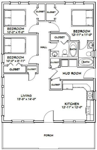 28x36 House 3 Bedroom 2 Bath 1 008 Sq Ft Pdf Floor Plan Model 1f Bedroom Floor Plans Small House Floor Plans House Floor Plans