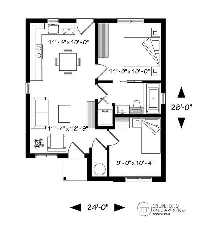 Discover The Plan 1704 Foster Which Will Please You For Its 2 Bedrooms And For Its Modern Rustic Styles Bungalow Floor Plans Cottage Style House Plans Cottage House Plans