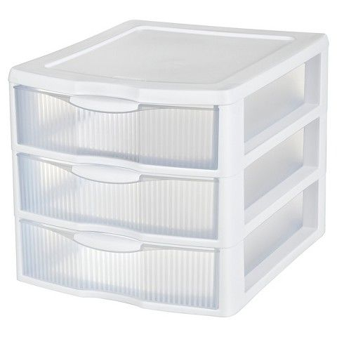 Sterilite® 3-Drawer Medium Multipurpose Organizer - White 10.89 inches square  sc 1 st  Pinterest & Sterilite® 3-Drawer Medium Organizer - White | Drawers Built ins ...