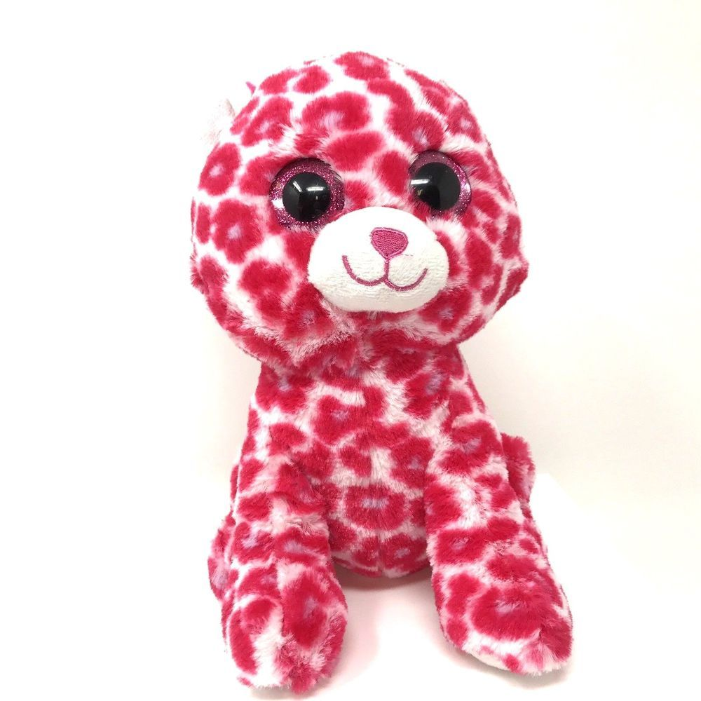Ty Glamour Pink Leopard Wild Animal Beanie Boos Stuffed Plush Toy 8.5
