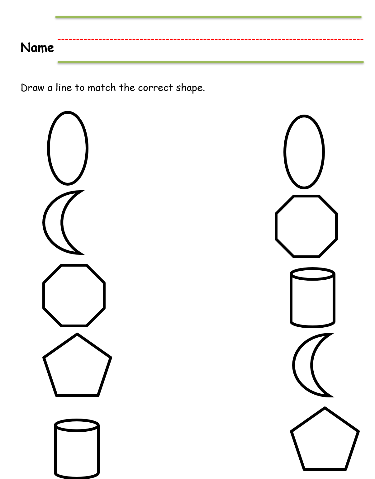 Kindergarten Worksheet Matching Shapes Black Amp White In