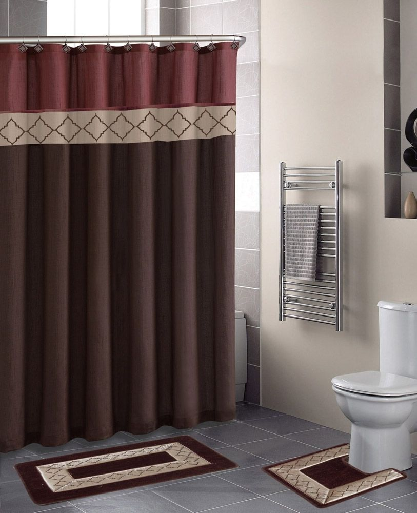 Maroon Shower Curtain Set
