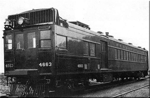 Pennsylvania Railroad gasoline-powered rail car #4663 built by Pullman-Standard, capable of producing 400 horsepower.