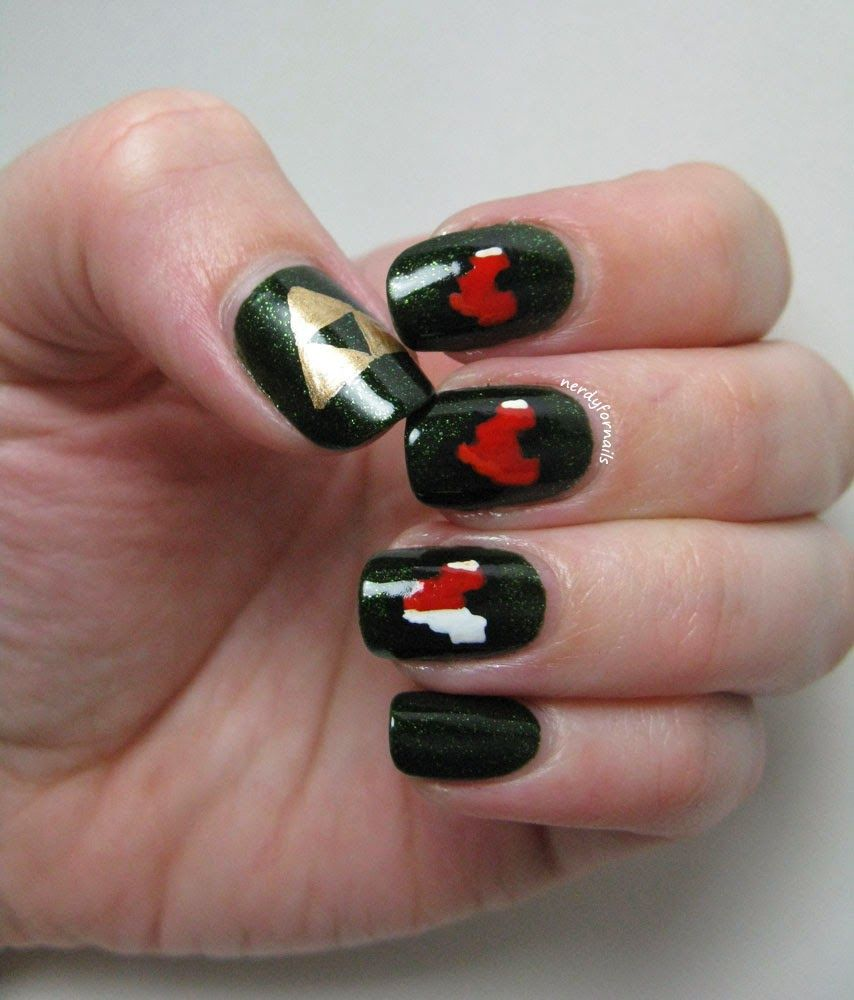 Zelda Triforce Heart Container Nails | Nerdy For Nails | Pinterest ...