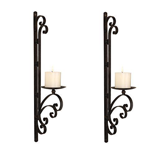 New Home Decor Wall Mounted Matte Black Iron Torch Style Gothic Candle Sconce