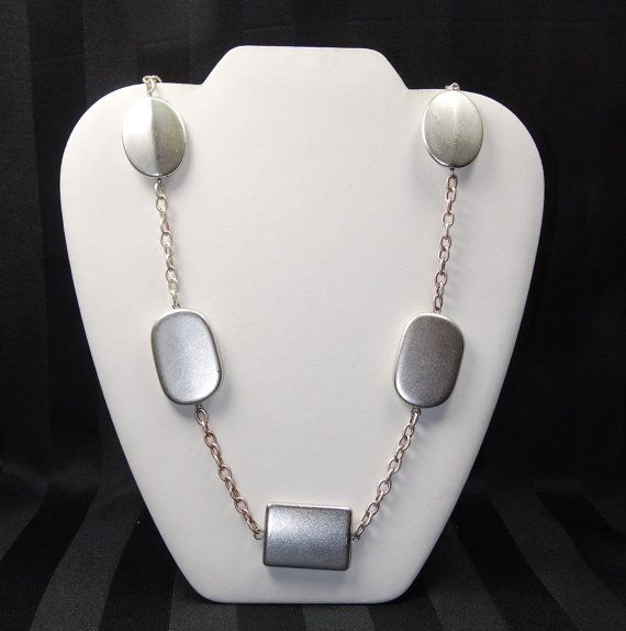Vintage SILVER MOD Necklace Square Oval by SellitAgainVintage, $17.00