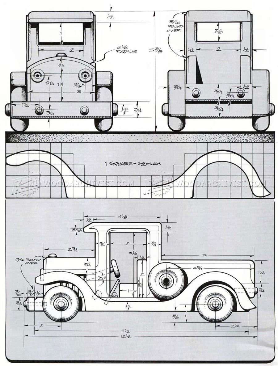 2938 wooden toy pickup truck plans - wooden toy plans