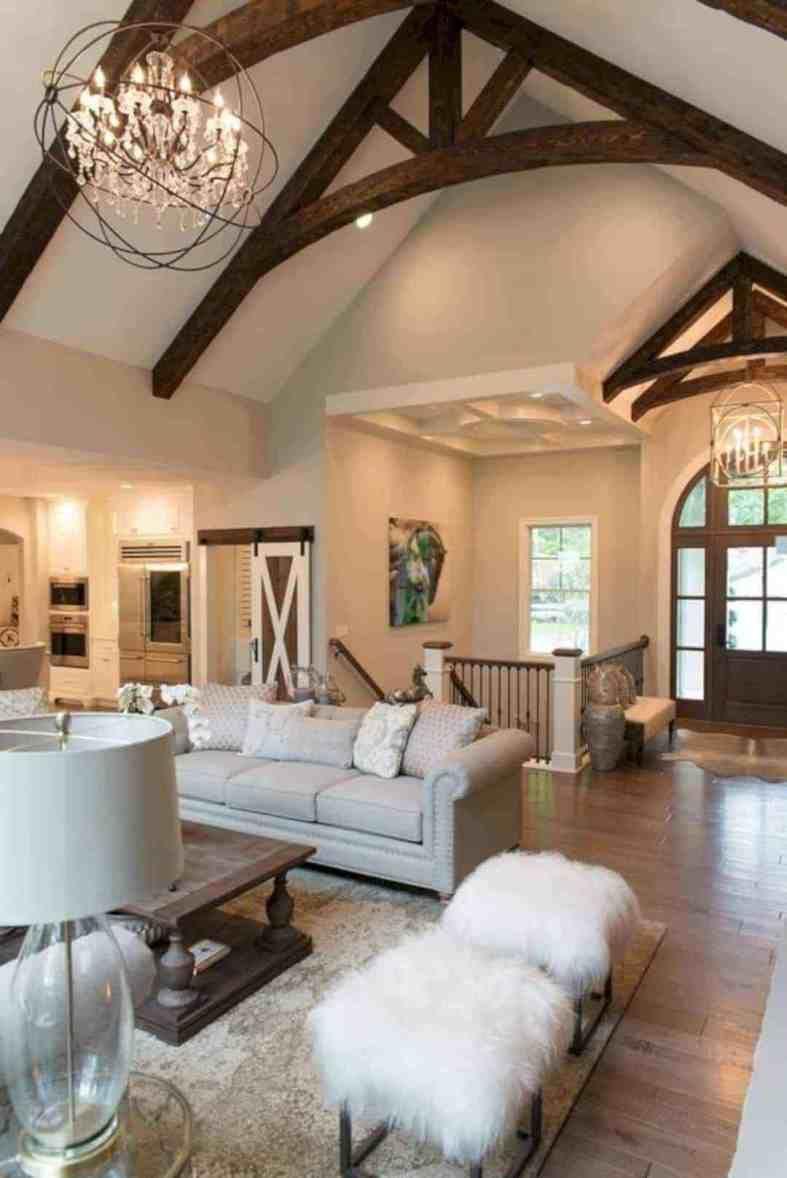 raised ranch interior design ideas  wood beam ceiling