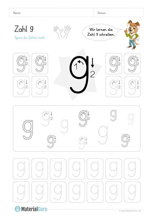 ein kostenloses mathe arbeitsblatt zum schreiben lernen der zahl 9 auf dem die kinder. Black Bedroom Furniture Sets. Home Design Ideas