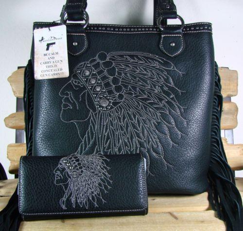Montana West Concealed Carry Golden Hardware Tote w//Fringe Wallet