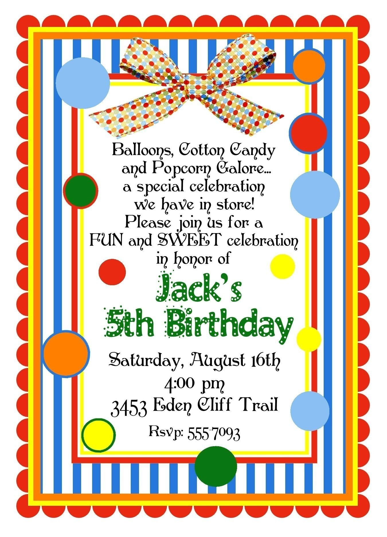 Personalized Invitations, Circus, Carnival, Birthday, Party, Clown ...