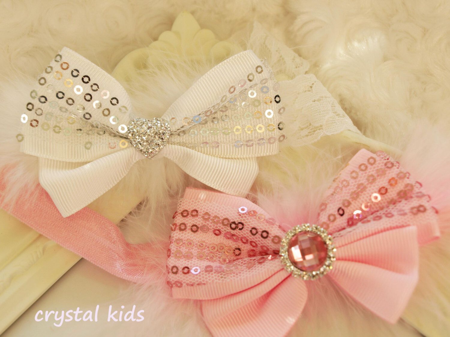 6c69b90fc7de1 Christening / wedding headband. Available in white or pink from my Etsy  shop https: