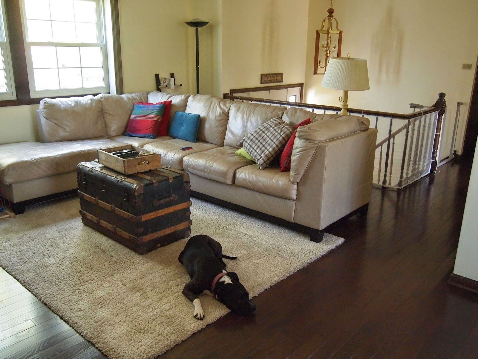 After Raised Ranch Living Room Renovation Behr Morning Sunlight Paint Dark Mocha Oak Hardwood Floors