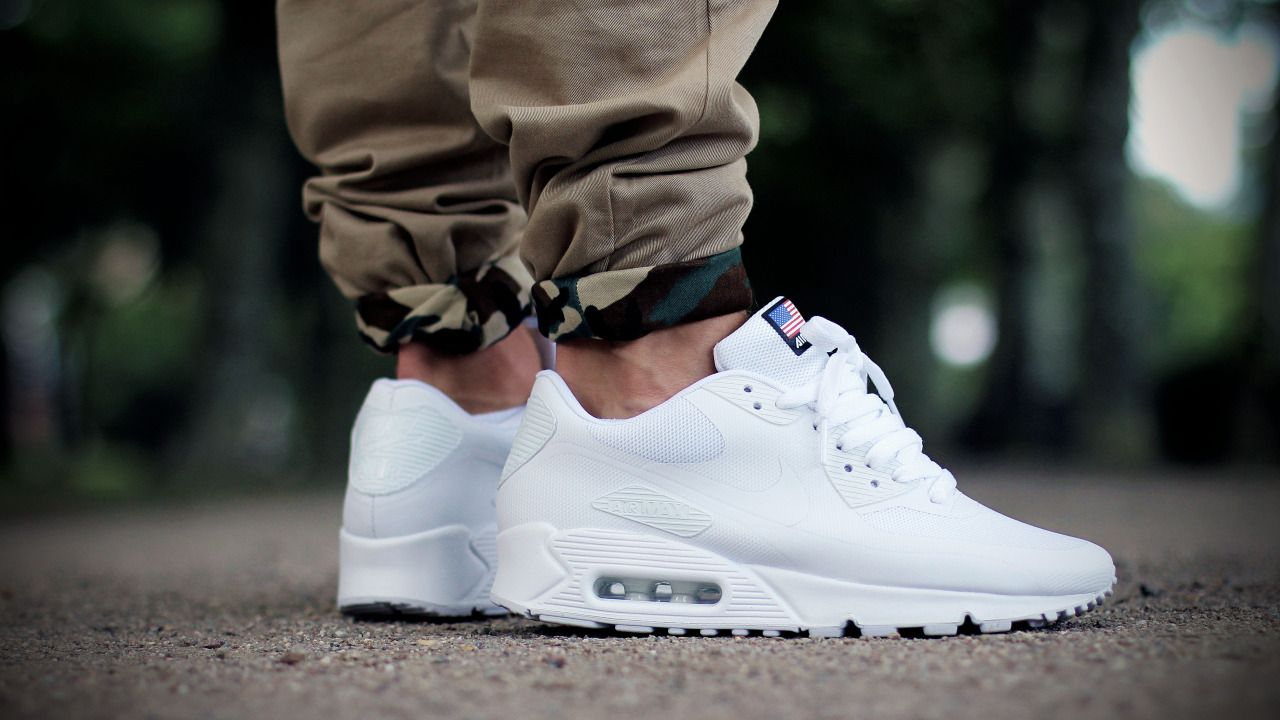 2015 NIKE AIR MAX 90 HYPERFUSE USA Independence Day White