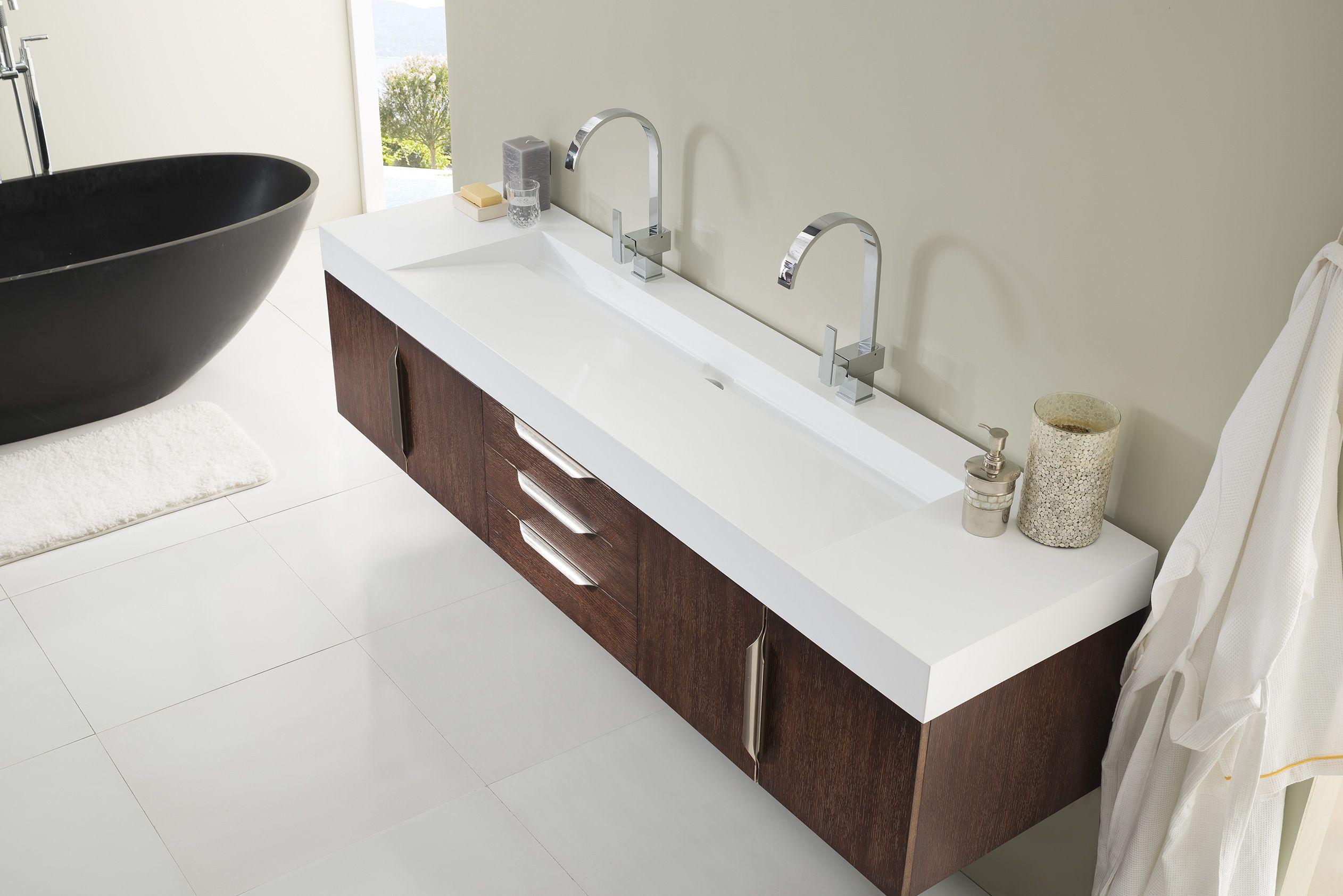 Mercer Island 72 Double Sink Floating Bathroom Vanity Cabinet
