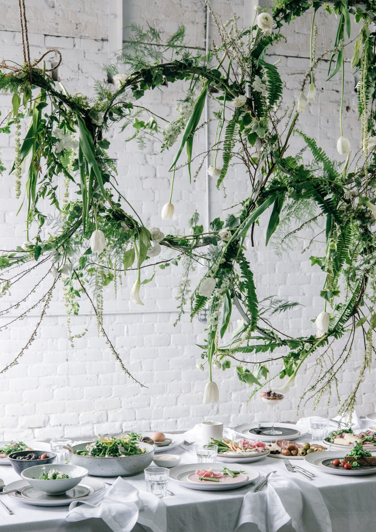 Greenery floral installation for spring brunch via for Wedding greenery ideas