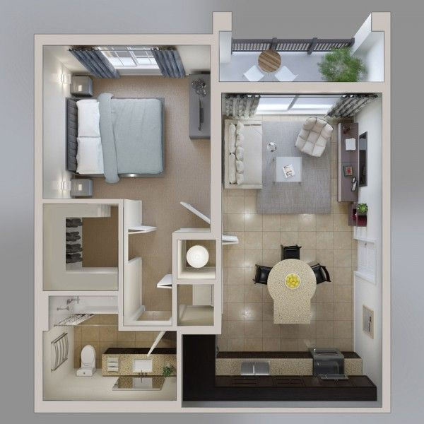 50 Plans En 3D D'Appartement Avec 1 Chambres | 3D, Appartements Et Plans
