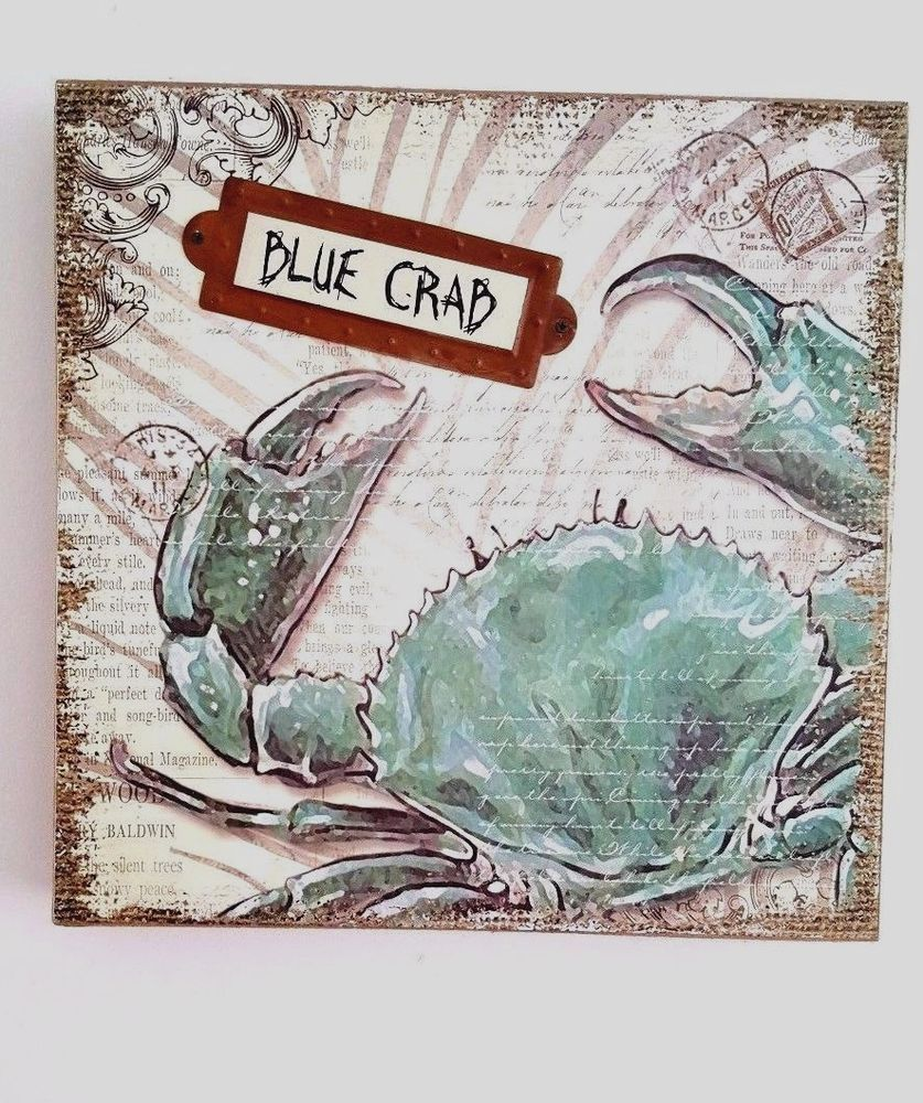 Blue crab coastal wood sign wall hanging wall decor wood signs blue crab coastal wood sign wall hanging wall decor amipublicfo Images