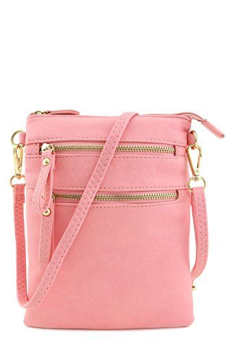 Multi Zipper Pocket Wristlet Crossbody Bag (Light Pink) - http ...