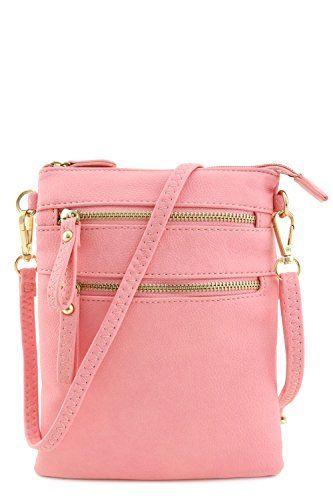 Multi Zipper Pocket Wristlet Crossbody Bag (Light Pink) - http ...