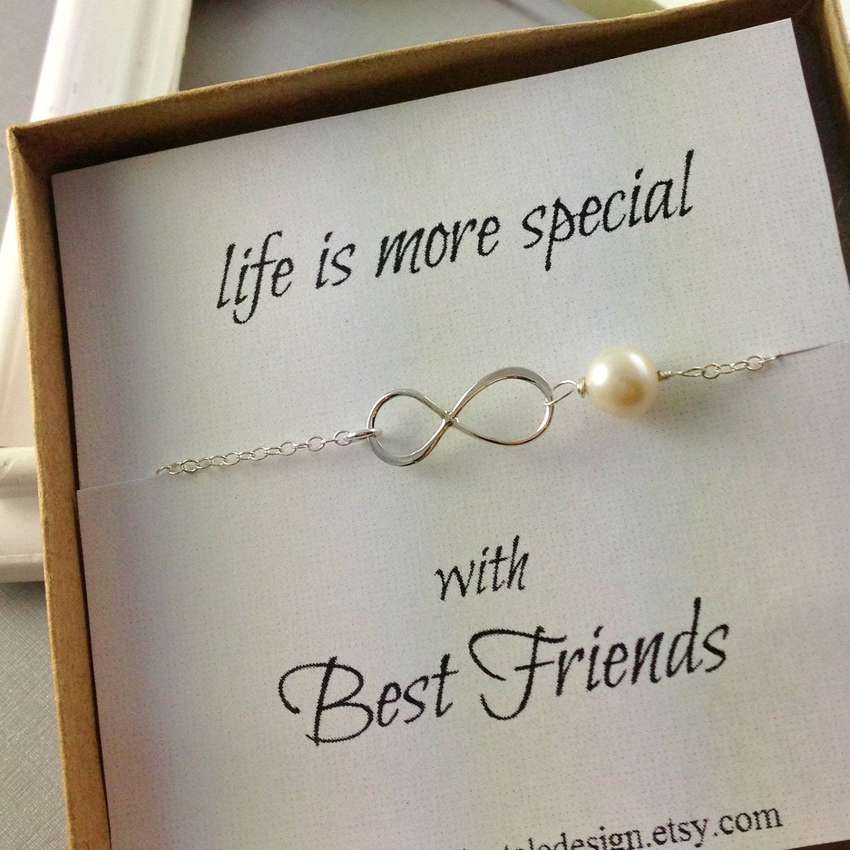 Infinity Bracelet Best Friend Gift Pearl Sterling Silver Birthday