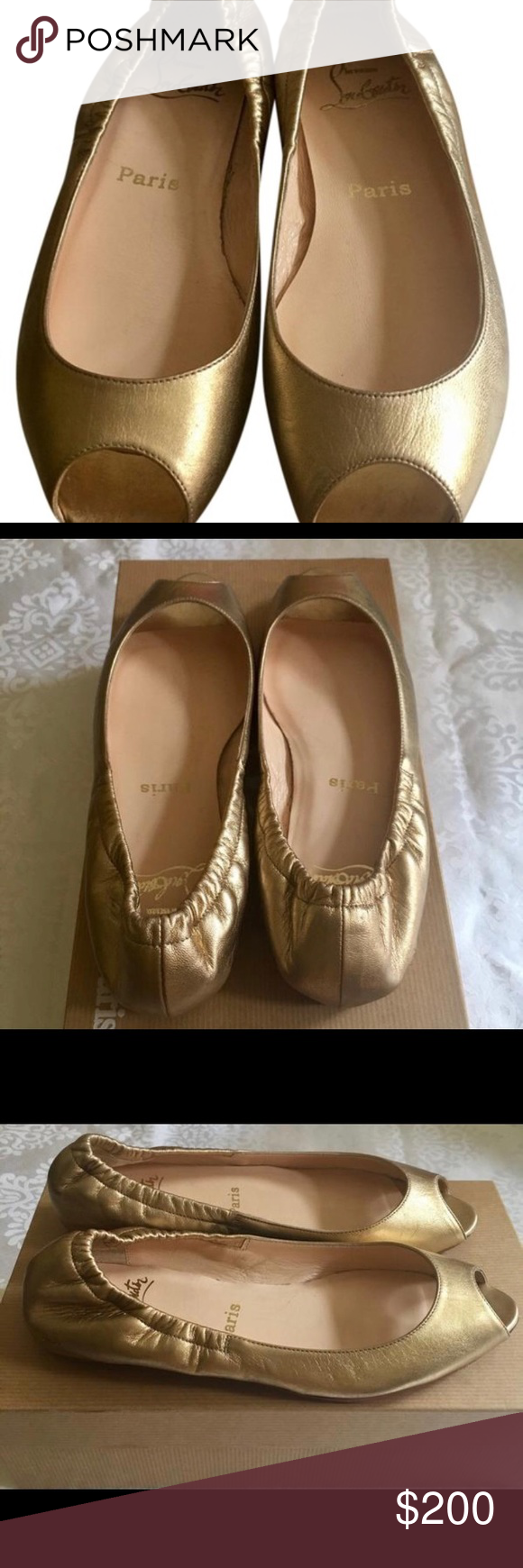 444ab000125b ... where can i buy authentic gold christian louboutin flats 3c3eb 8be13