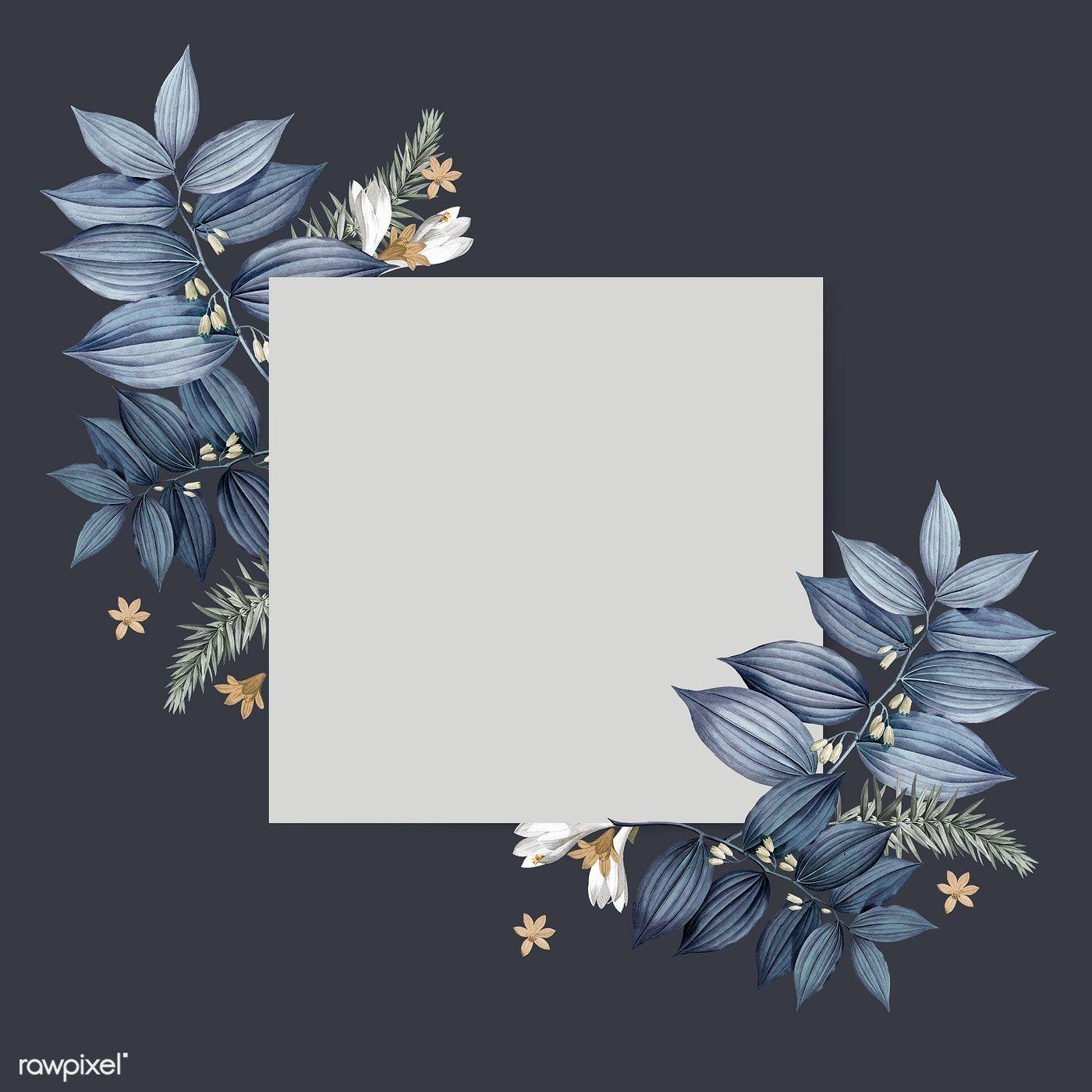 Download Premium Illustration Of Blue Floral Blank Square Card