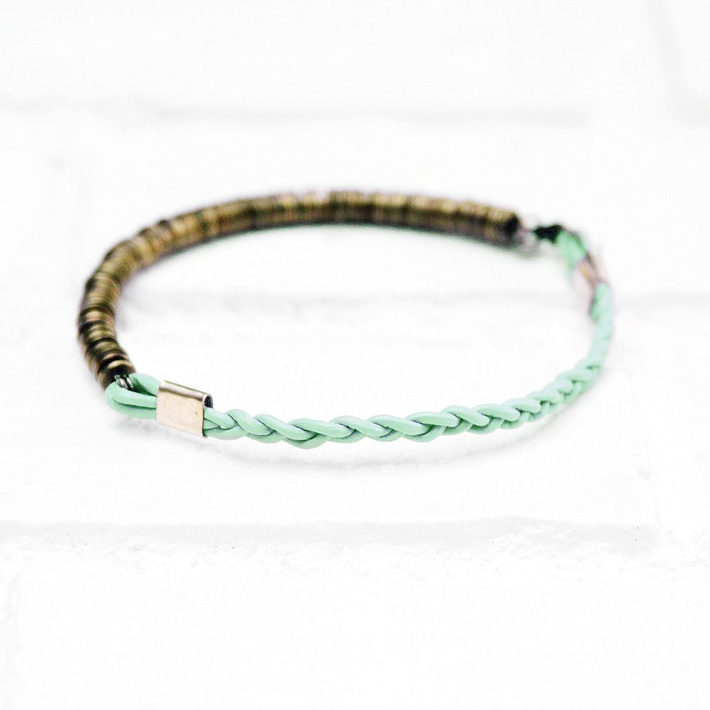 $60 Urban Aviary Mint: Leather & Brass disk bracelet