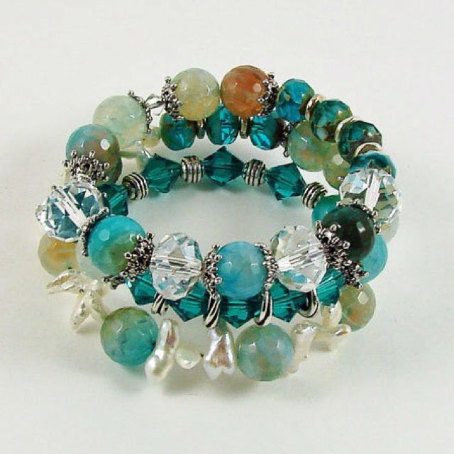 Beaded Memory Wire Bracelet | healing crystals, stones, bowls ...