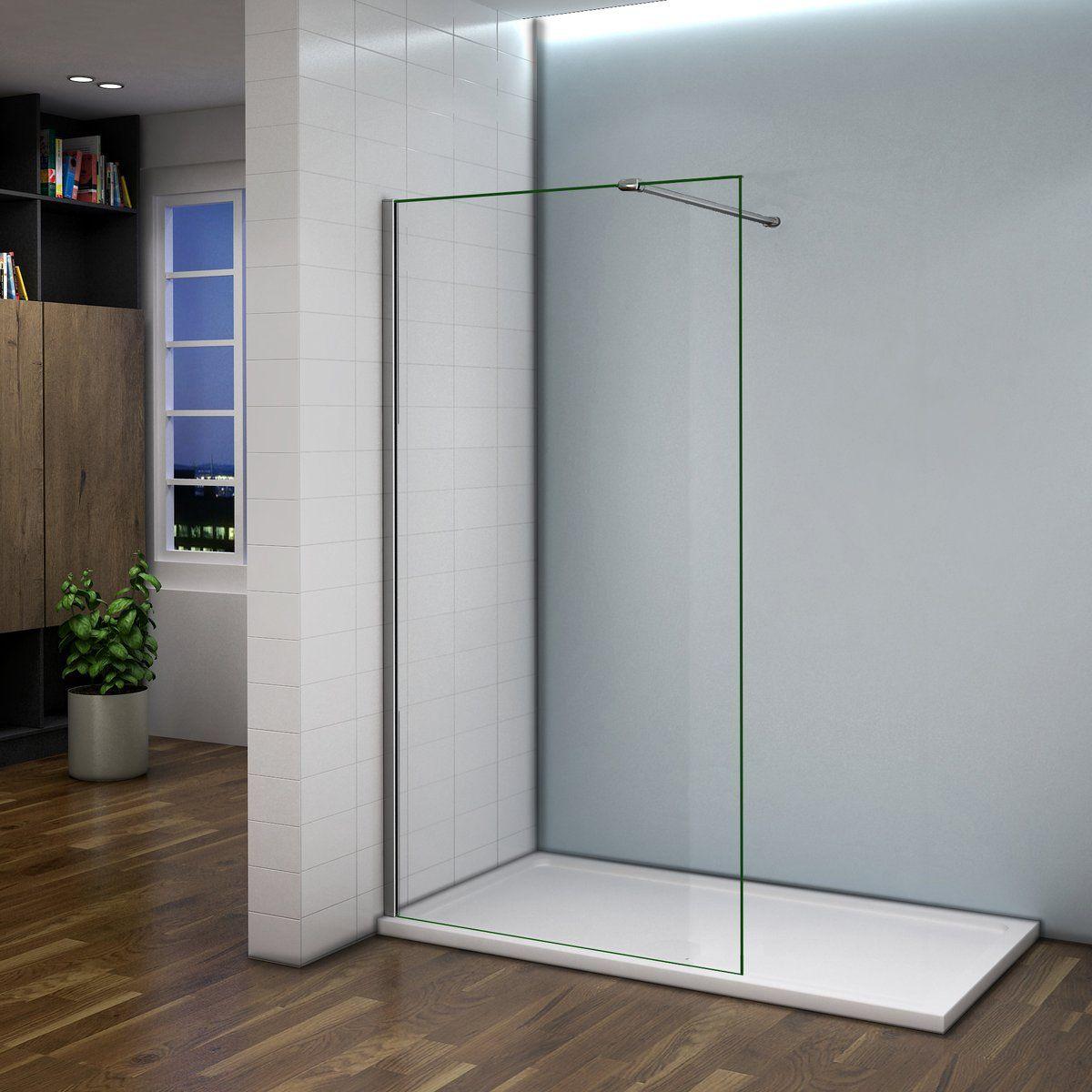 Paroi de douche 160x200 cm,paroi de douche /à litalienne 8mm verre securit et anticalcaire avec barre de fixation extensible en cylindrique