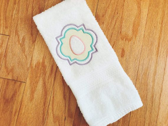 This Listing Is For An Embroidered Easter Egg Hand Towel With An
