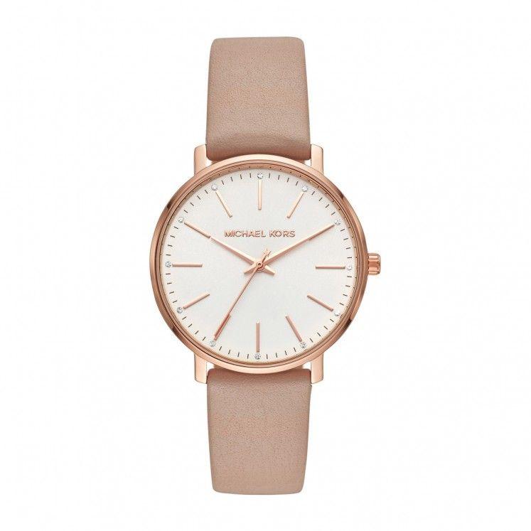 Michael Kors Pyper Beige Leather 38mm Ladies  Watch   Fashion ... fd70048fd569