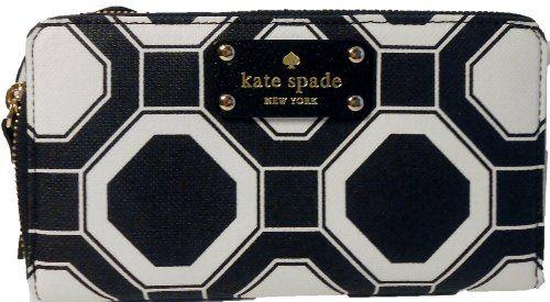 Kate Spade Wellesley Large Black White Zip Around Neda Wallet