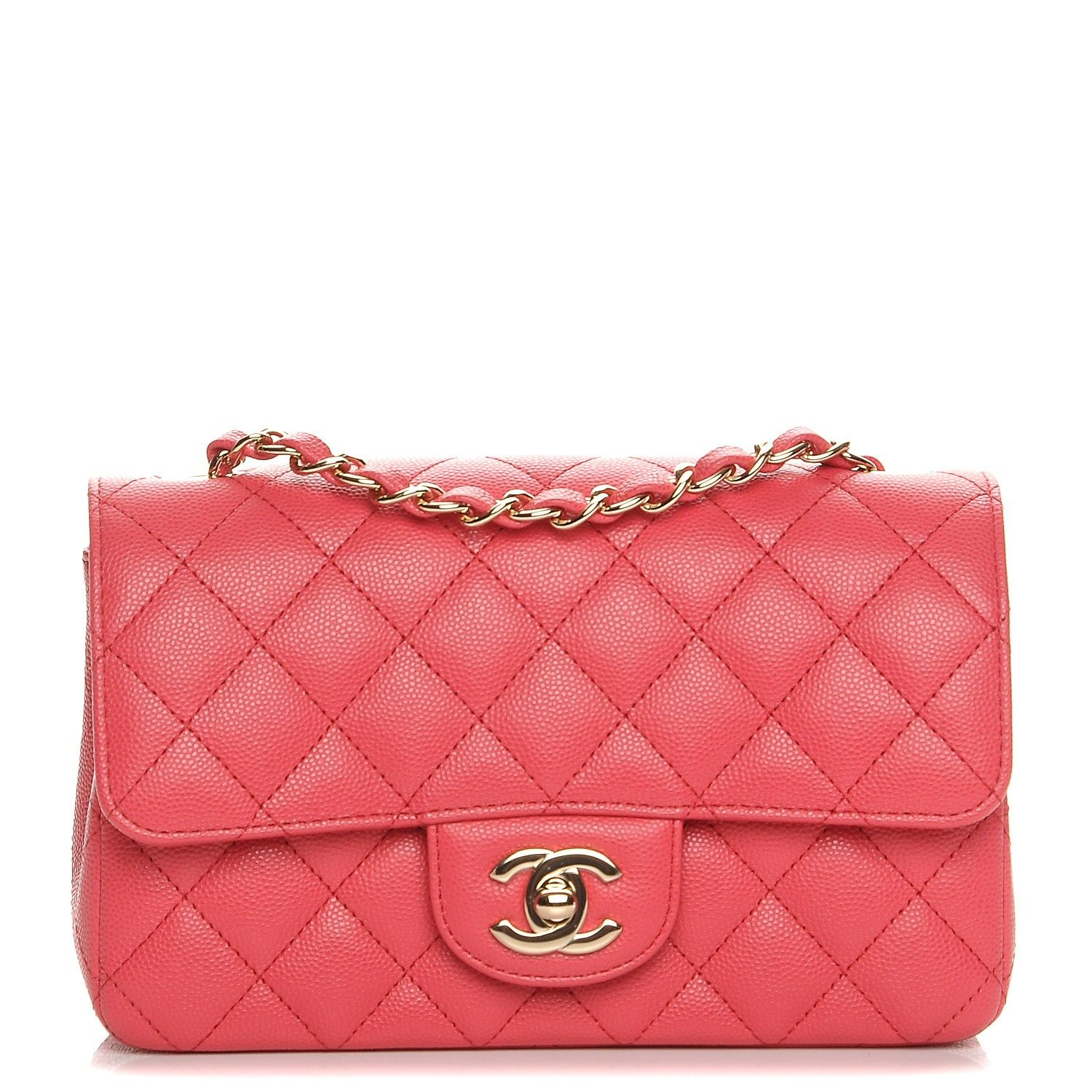 58694ff5295 This is an authentic CHANEL Caviar Quilted Mini Rectangular Flap in Dark  Pink. This stunning