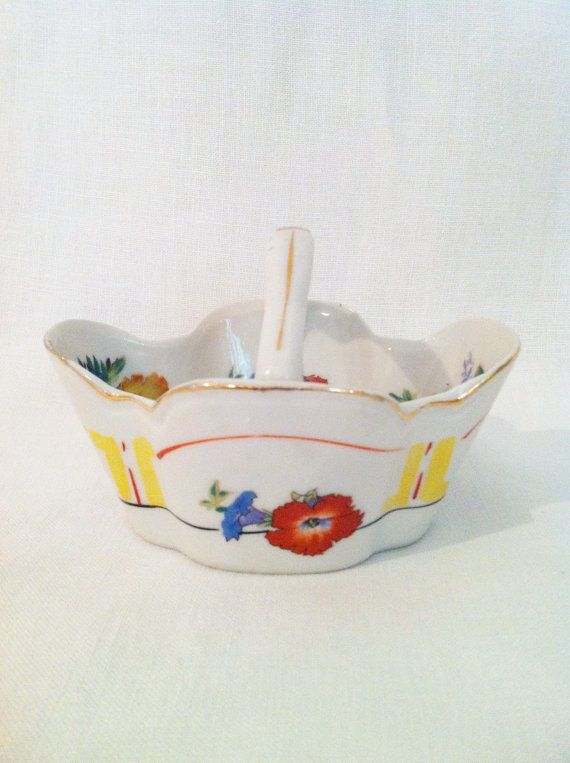 Vintage porcelain ceramic basket Japan with red blue by Comforte, $10.00