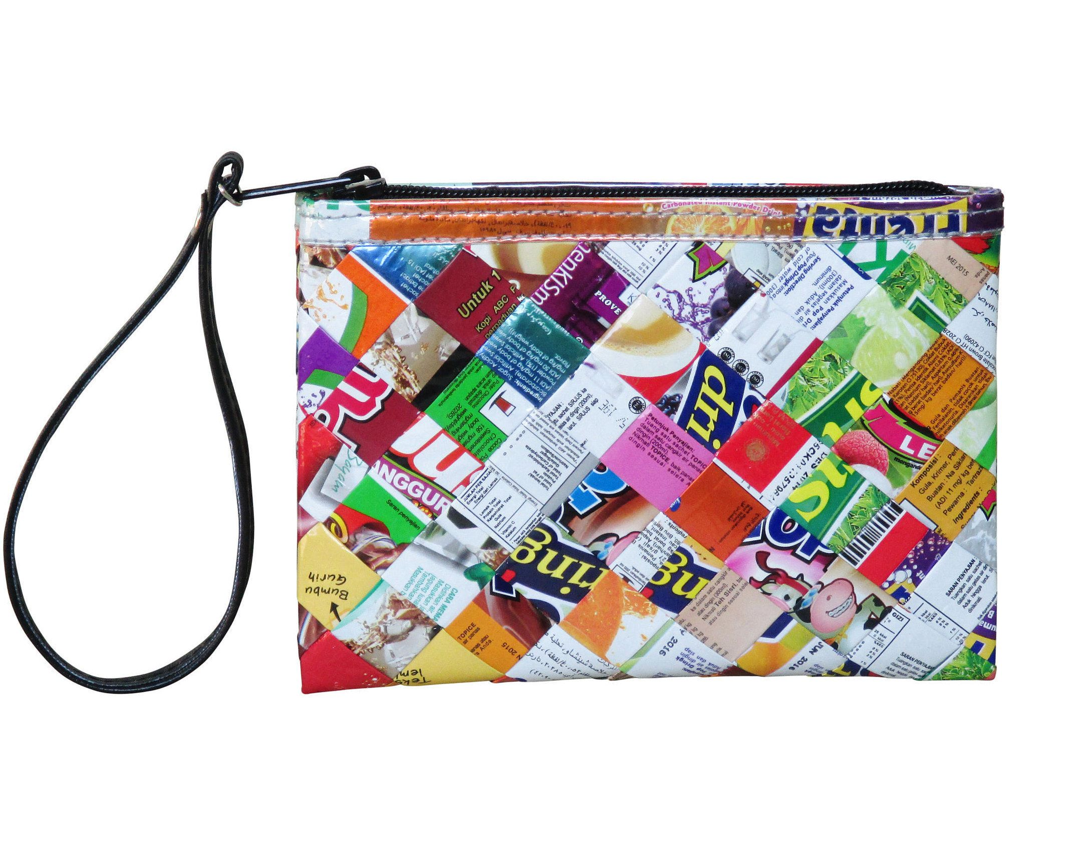 Small colorful wristlet made from street ad banner FREE SHIPPING Coin Wallet vegan zipper Bag t ideas for ve arians vegans upcycled of