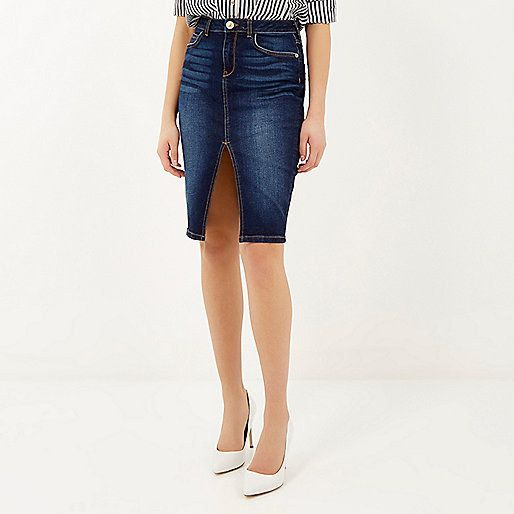 River Island Dark Wash Pencil Skirt, $70 | Skirts, Rivers and Islands