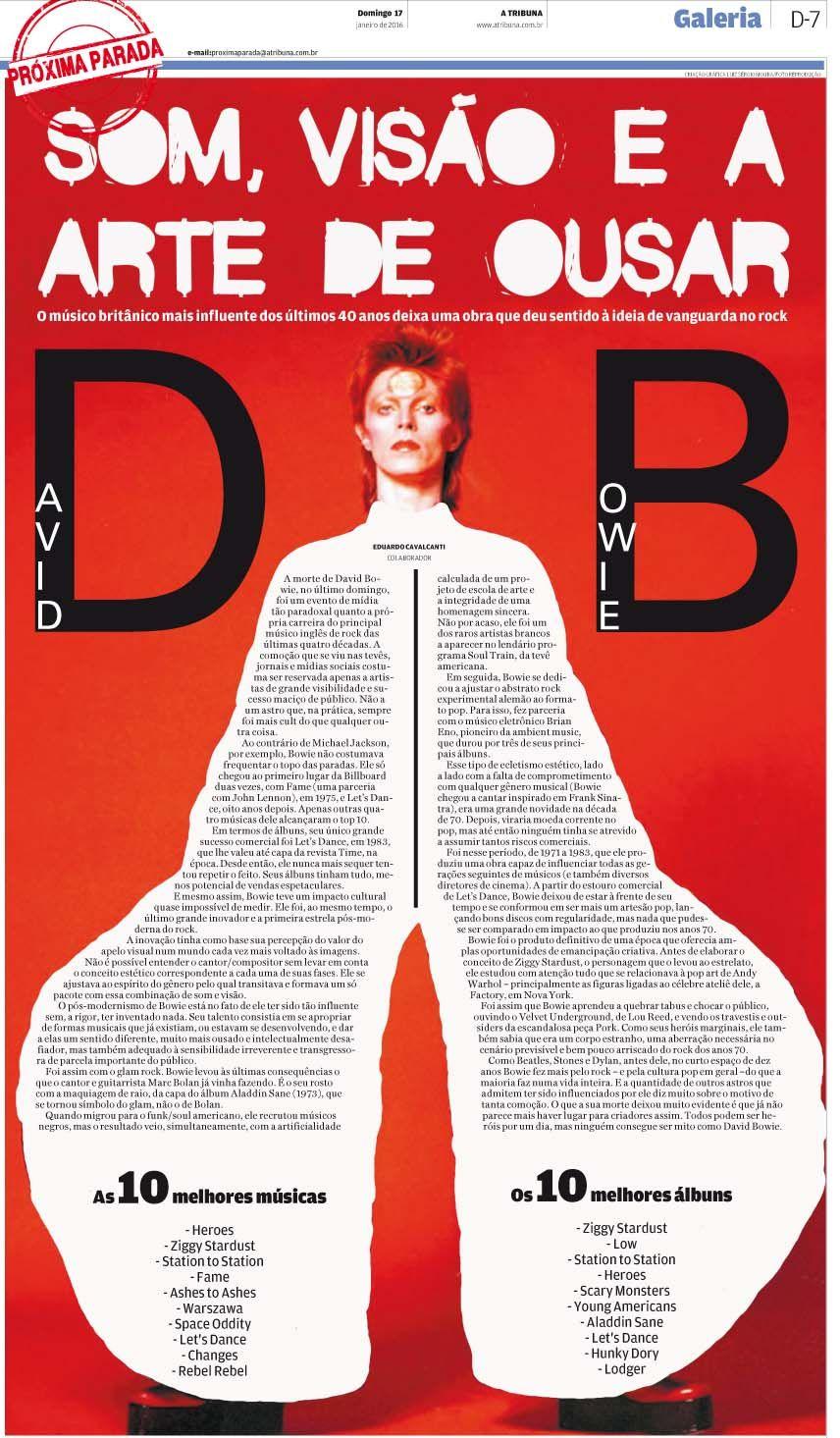 Página não publicada sobre a carreira de David Bowie
