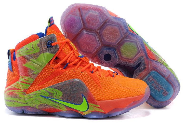 "be933ef48b5 Nike LeBron 12 ""Six Meridians"" Orange Blaze Volt-Game Royal-Metallic Silver  684593-870"