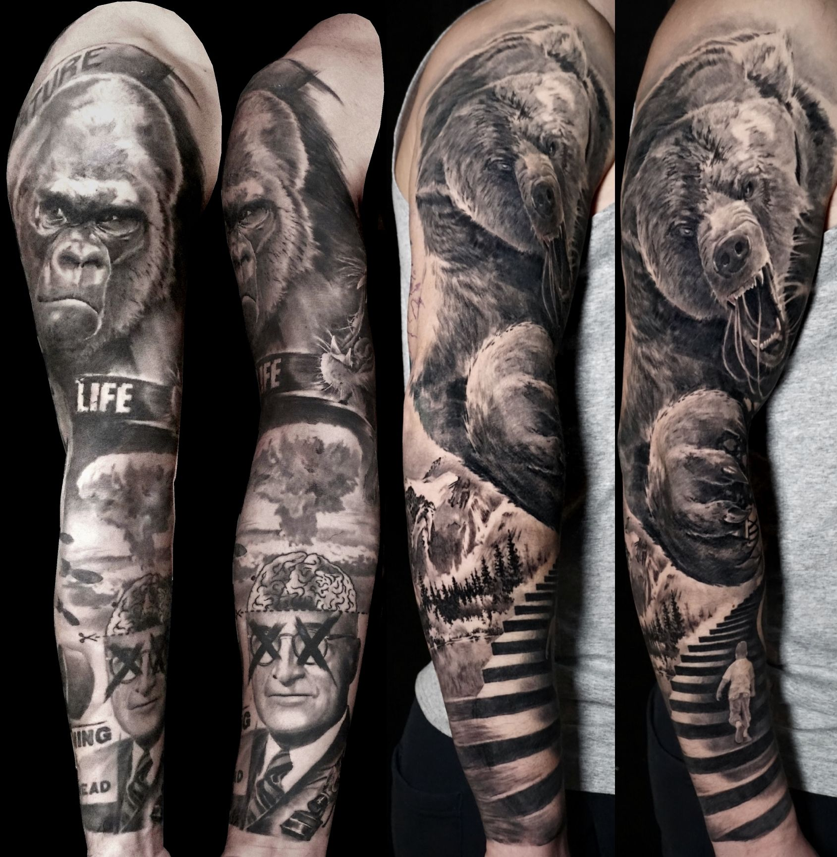 Some Of My Favourite Full Sleeves Animaltattoos Bestblackandgrey Bng Realistic Fullsleeve Londont Black And Grey Tattoos Gorilla Tattoo Sleeve Tattoos