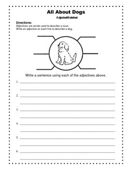 Adjectives Worksheet All About Dogs